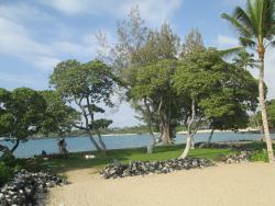 Same view to Hualalai entrance beach but taken from grassy beach area