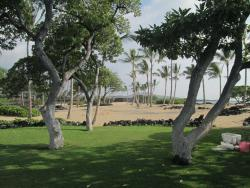 Grassy area with view to restroom and shower as well as to the cinder cone mountain/hill next to Kua Bay