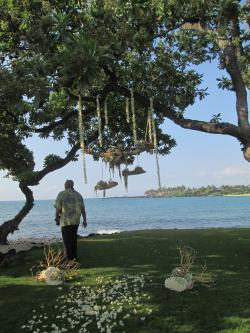 Hawaiian pastor before a wedding with Hualalai Resort view